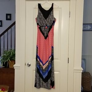 NWT NY Collection graphic strapless maxi dress 2X